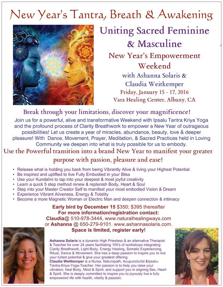 New Year's Tantra Breath & Awakening @ Vara Healing Center | Albany | California | United States