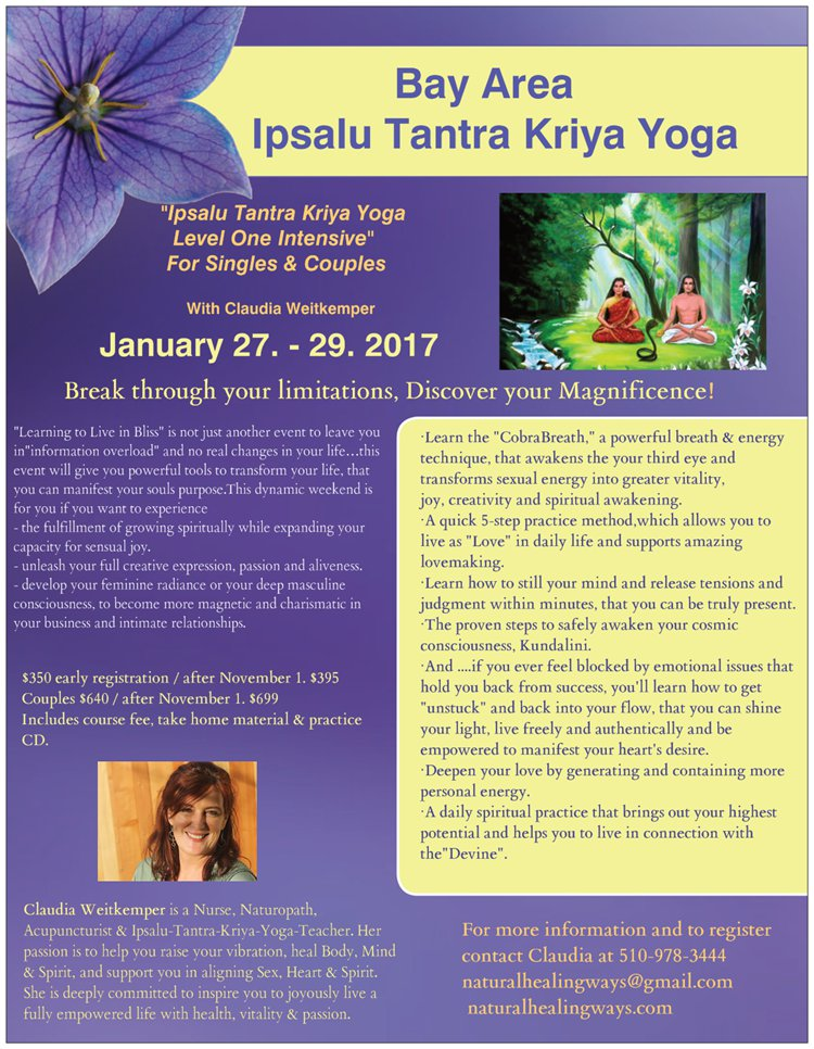Ipsalu Tantra Kriya Yoga Level 1 Intensive @ Vara Healing Arts | Albany | California | United States