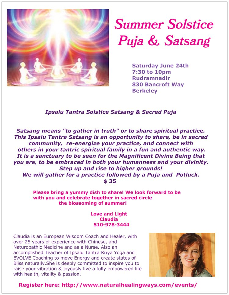 Summer Solstice Puja and Satsang_6-24 @ Rudramandir | Berkeley | California | United States